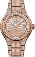 Hublot Classic Fusion King Gold Full Pave Bracelet 33 mm 585.OX.9000.OX.3604