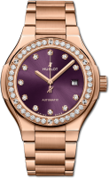 Hublot Classic Fusion King Gold Purple Diamonds Bracelet 585.OX.898V.OX.1204