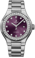 Hublot Classic Fusion Titanium Purple Diamonds Bracelet 33 mm 585.NX.897V.NX.1204